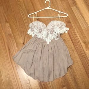Forever21 Tan and cream lace romper!